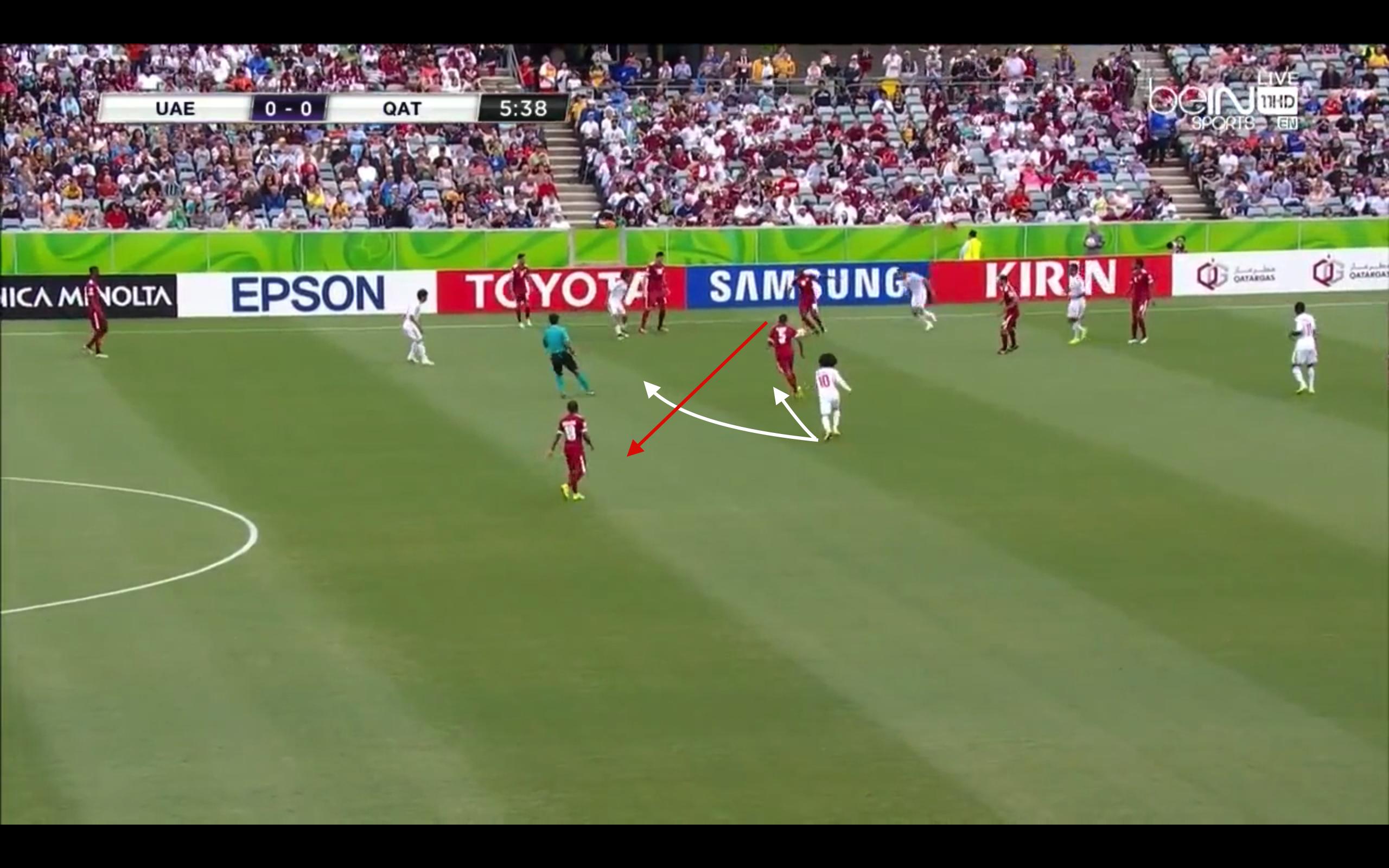 Er übt gleichzeitig Druck auf den Spieler vor ihm aus und kann ihn, wenn er den Ball bekommt, daran hindern sich zu drehen und das Spiel zu verlagern. Außerdem behält er aber den Spieler in seinem Rücken im Auge und versperrt den Passweg zu ihm.