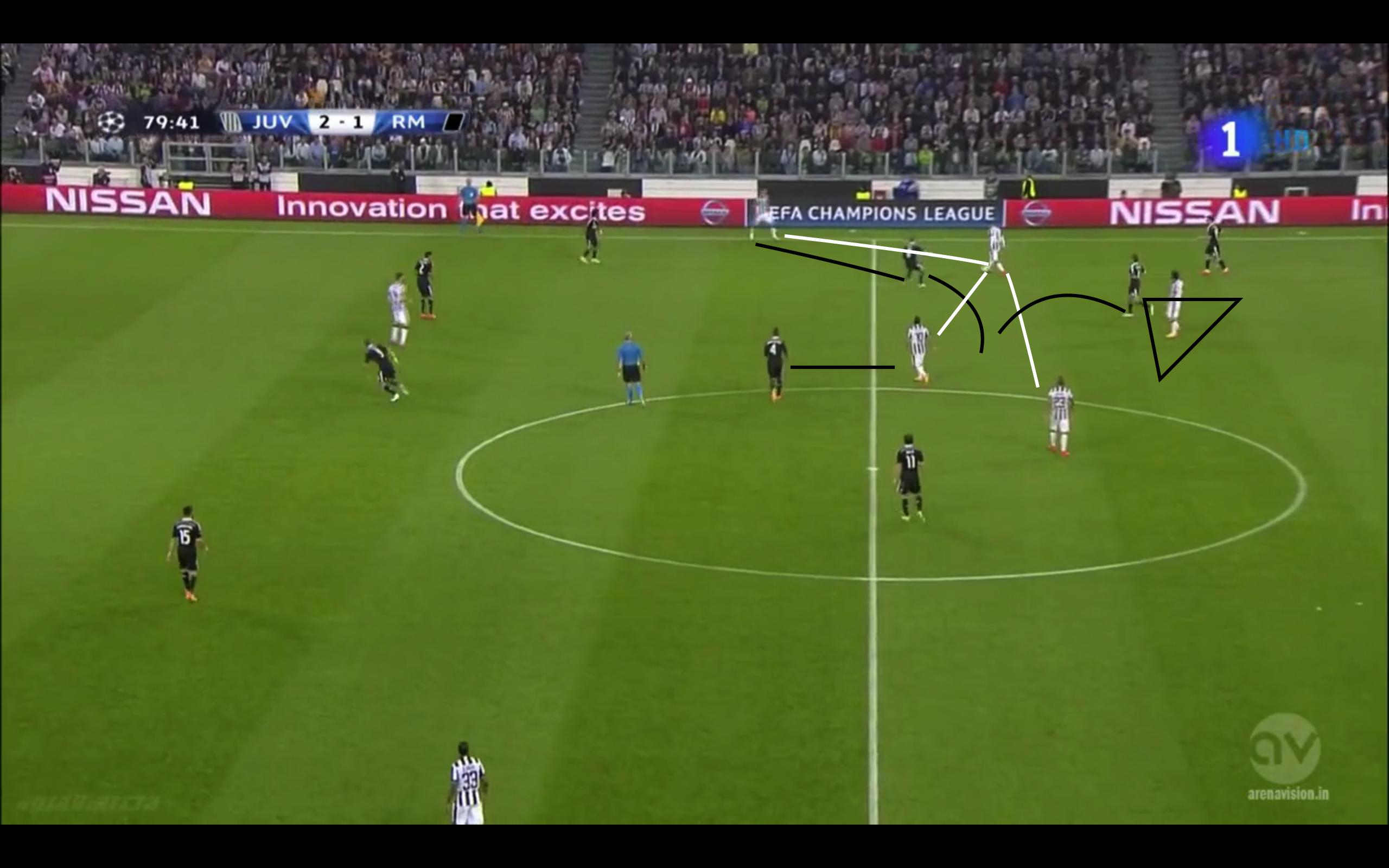 Hernandez orientierte sich auch viel stärker an Pirlo und verhinderte so schnelle Seitenverlagerungen. Durch seine Positionsfindung hält er das Spiel auf dem Flügel gefangen und verhindert mögliche Sichtfelddrehungen.