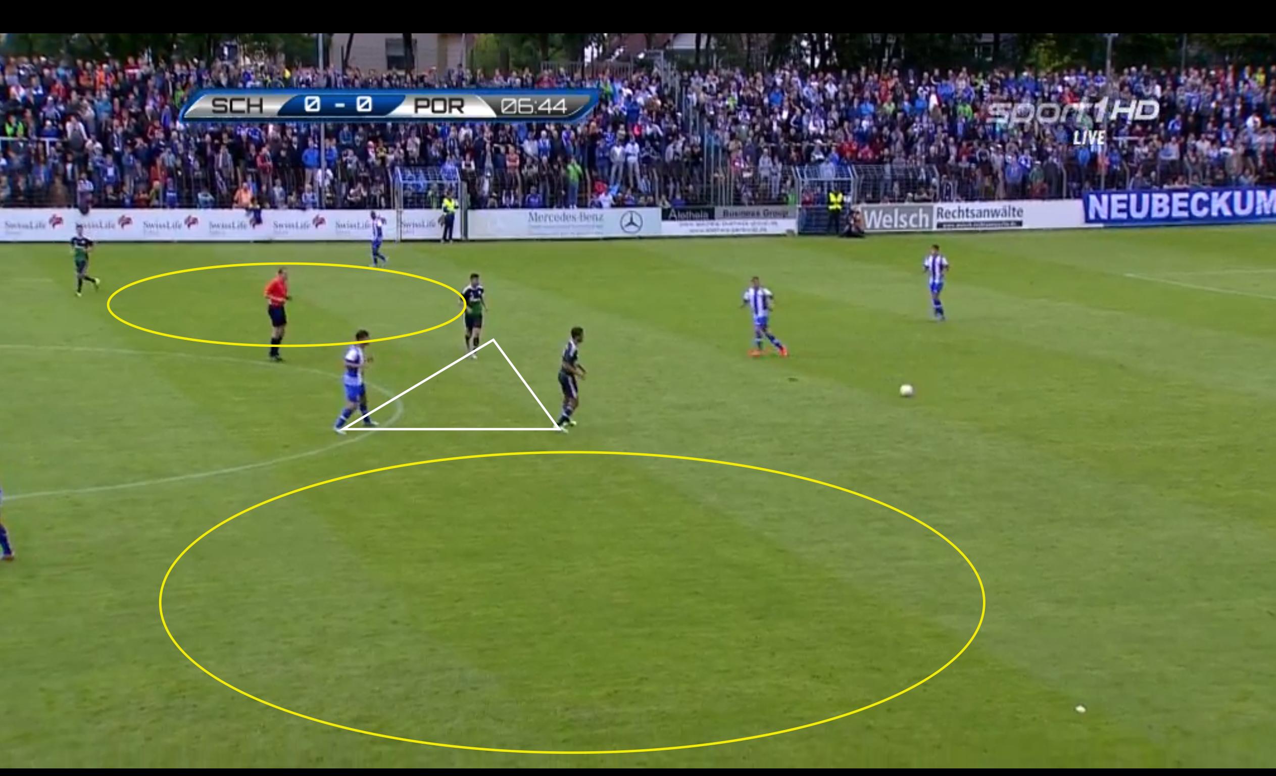 Tieferes 4-4-2: Schalke im tieferen 4-4-2. Enge Stürmer, die die Sechser im Deckungsschatten behalten und das Ballbesitzspiel um den geschlossenen Block nach außen lenken wollen.