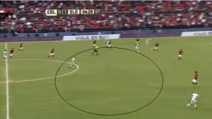 Abbildung 2: Extrem viel Raum in der Mitte, San Lorenzo zeigt hier eine sehr schwache Defensivstaffelung.
